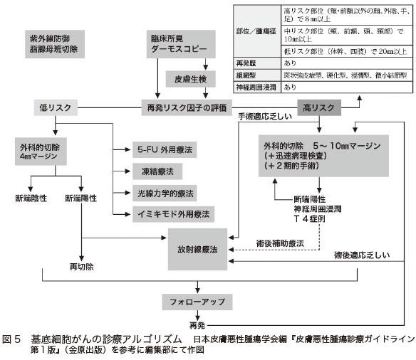 図5 基底細胞がんの診療アルゴリズム 日本皮膚悪性腫瘍学会編『皮膚悪性腫瘍診療ガイドライン第1版』(金原出版)を参考に編集部にて作図