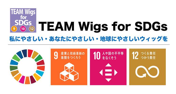 持続可能な世界へ向けたウィッグの開発目標。9番、10 番、12 番を意識して開発してきた