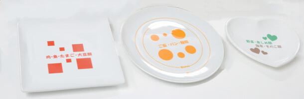 写真2 川口教授が開発したお皿(特許を取得)。写真中央のお皿に描かれている大きい円が男 性の茶碗サイズ、小さい円が女性サイズ